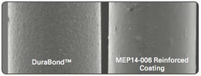 Figure 4, Filler enhanced PTFE coatings display a smooth surface morphology.